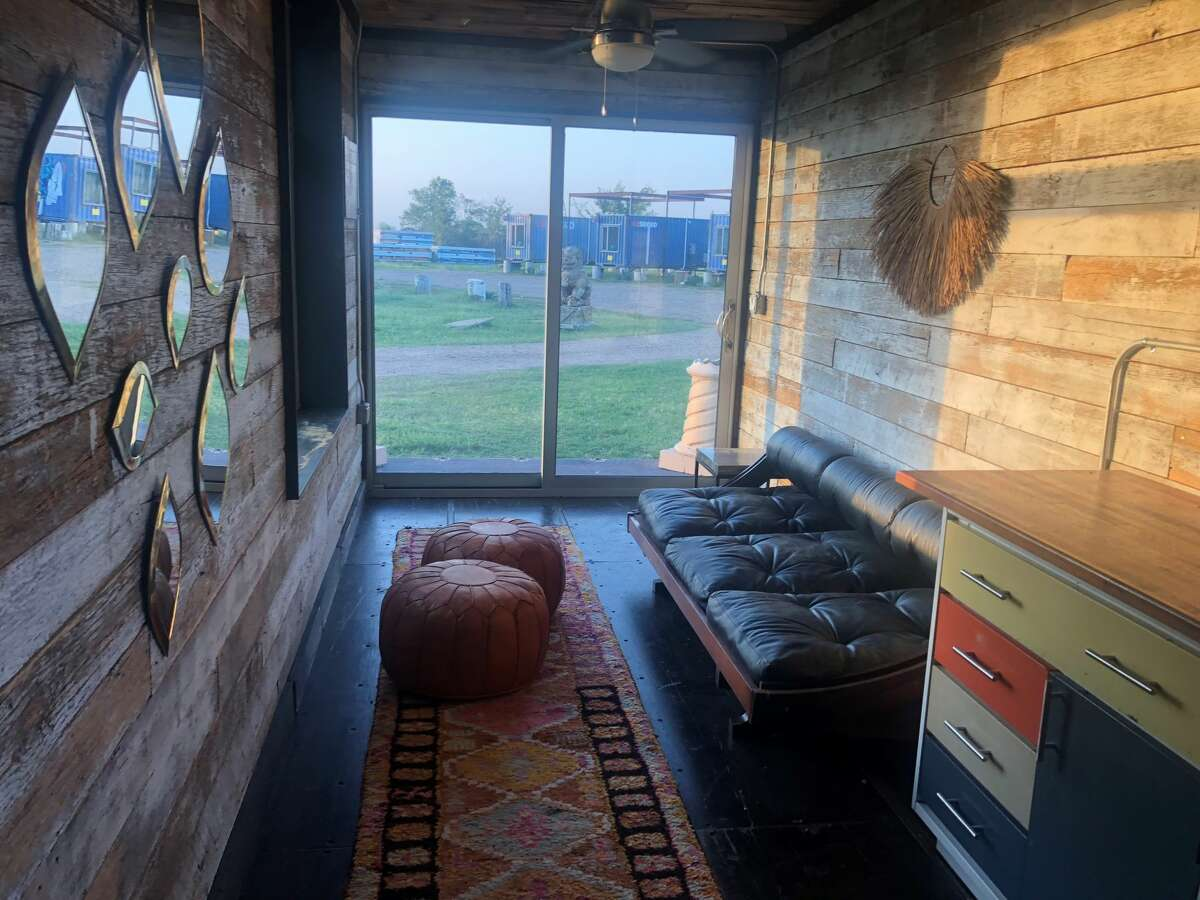 A look at some cool decor inside a shipping container