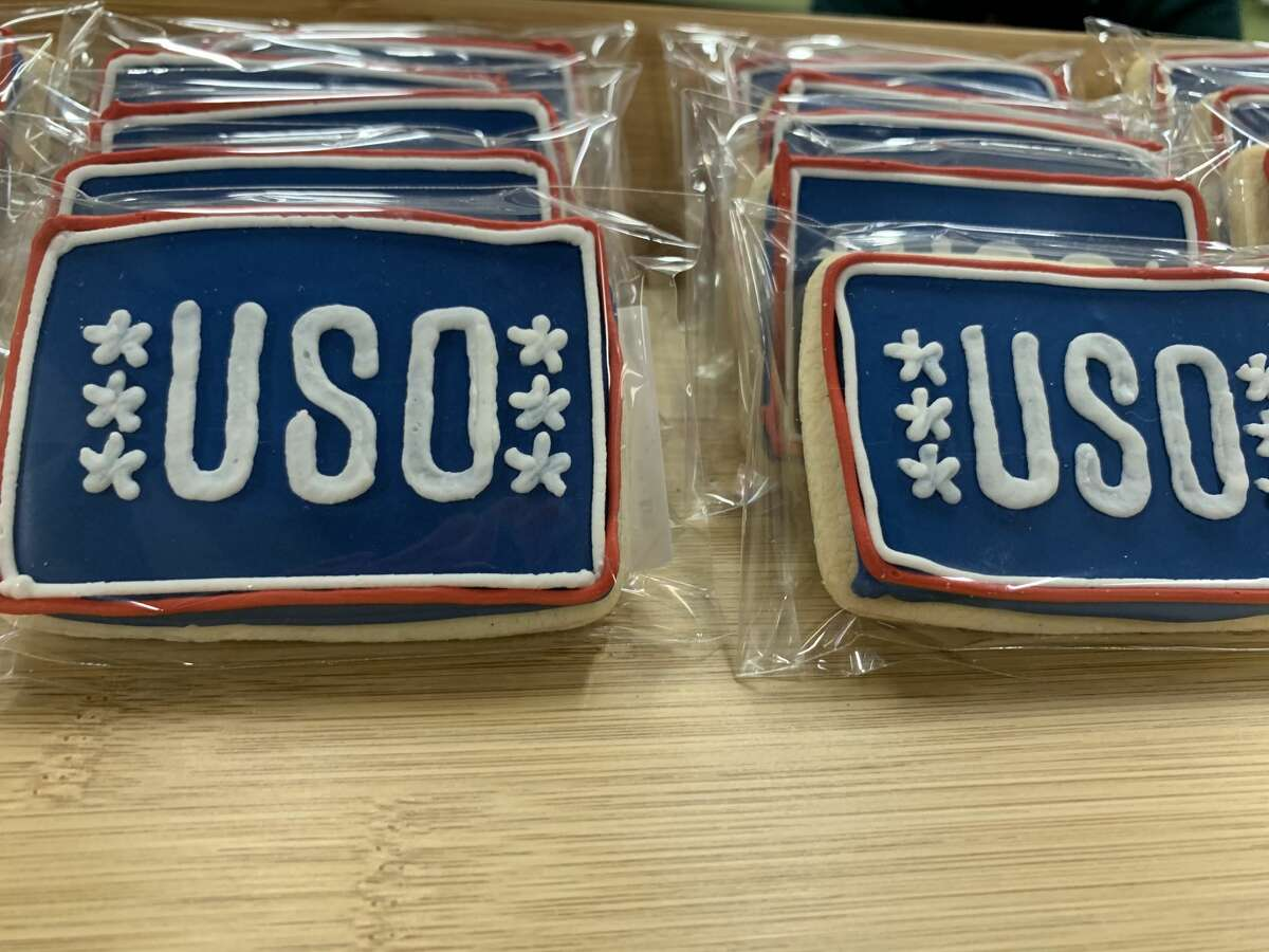 Individually wrapped cookies celebrating the opening of the new USO Center have been popular with guests.