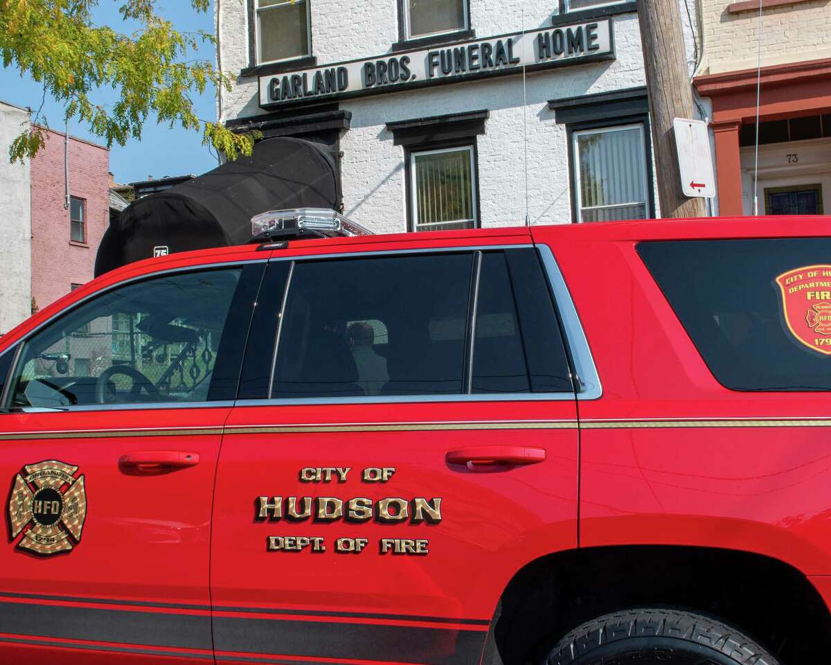 A City of Hudson chief's SUV is parked in front of the Garland Brothers Funeral home on Clinton Avenue in Albany, NY, on Saturday, Oct. 10, 2020, during the services for Dary Taylor. (Jim Franco/special to the Times Union.)
