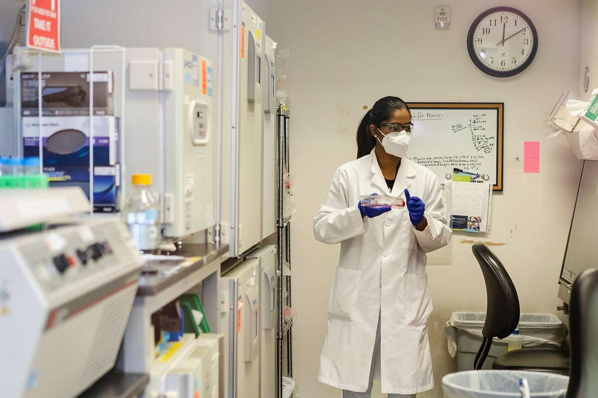 Trupti Patil, an associate specialist at the UCSF Quantitative Bioscience Institute, carries a flask to conduct research at the Krogan Lab on Tuesday, October 13, 2020, in San Francisco, Calif.