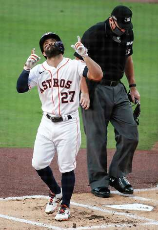 Houston Astros Jose Altuve points to the sky after hitting a solo home run off Tampa Bay Rays starter Tyler Glasnow during the first inning of Game 4 of the American League Championship Series at Petco Park Wednesday, Oct. 14, 2020, in San Diego. Photo: Karen Warren, Staff Photographer / © 2020 Houston Chronicle