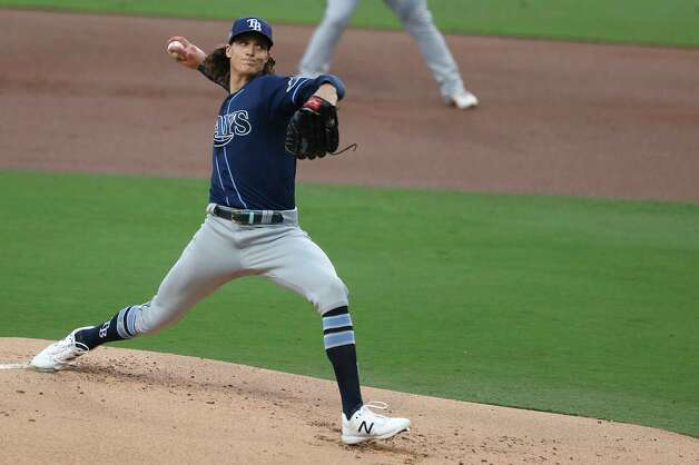 Tampa Bay Rays starter. Tyler Glasnow pitches against the Houston Astros during the first inning of Game 4 of the American League Championship Series at Petco Park Wednesday, Oct. 14, 2020, in San Diego. Photo: Karen Warren, Staff Photographer / © 2020 Houston Chronicle