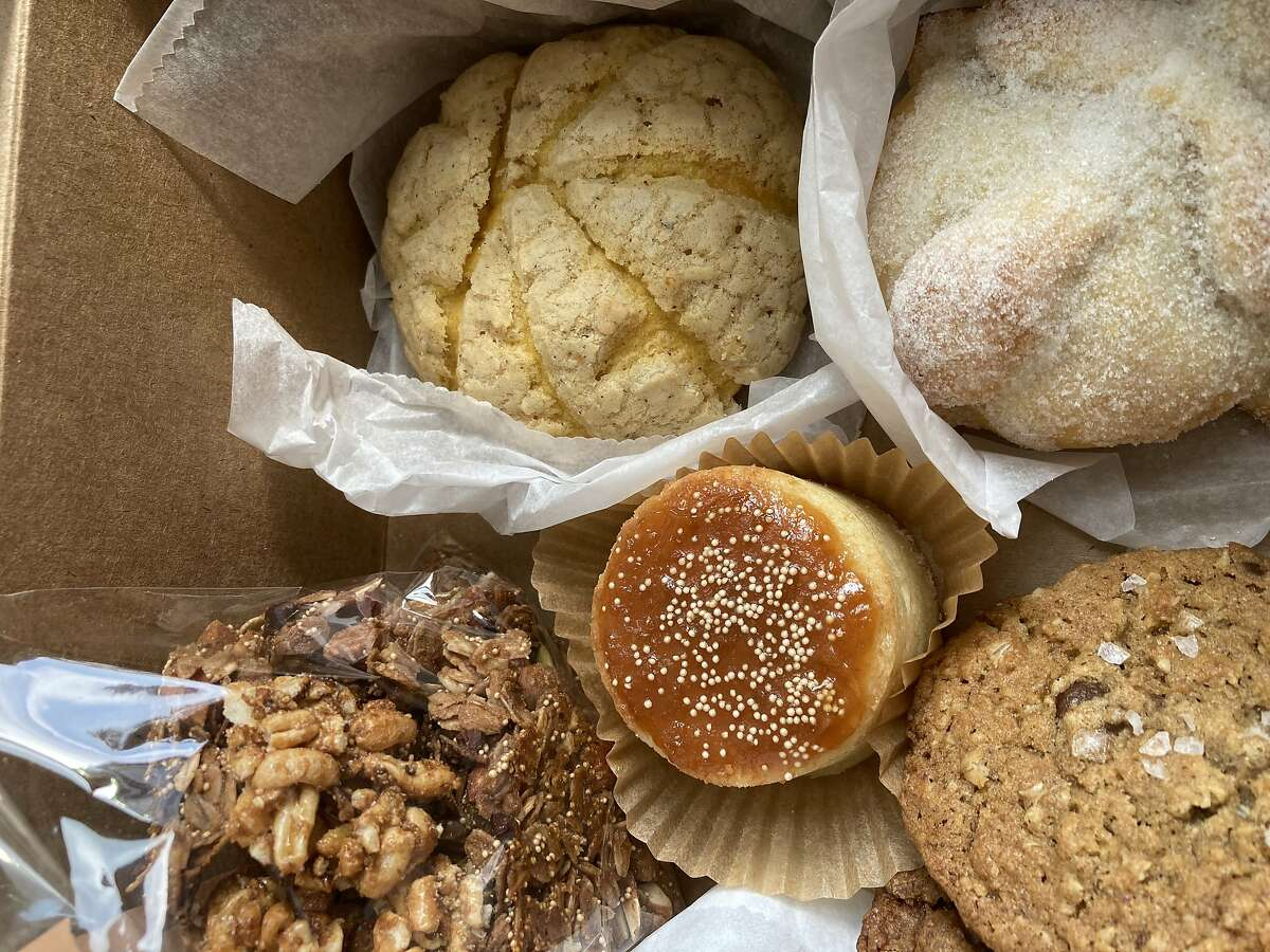 A box of pastries delivered from Norte 54, a new popup bakery that delivers modern Mexican pastries and breads in San Francisco and is selling at the Mission Community Market on Thursdays.