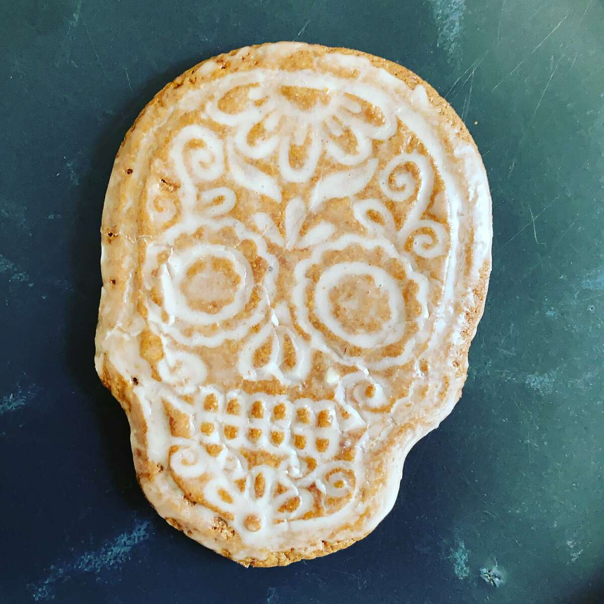 A calaveras cookie from Norte 54, a new popup bakery that delivers modern Mexican pastries and breads in San Francisco and is selling at the Mission Community Market on Thursdays.