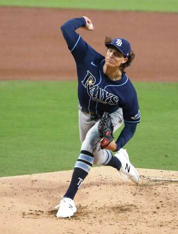 Tampa Bay Rays starter Tyler Glasnow pitches against the Houston Astros during the third inning of Game 4 of the American League Championship Series at Petco Park Wednesday, Oct. 14, 2020, in San Diego. Photo: Karen Warren, Staff Photographer / © 2020 Houston Chronicle