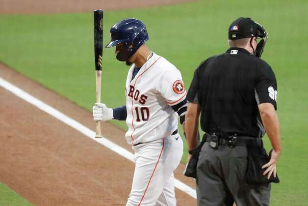 Houston Astros Yuli Gurriel (10) reacts after striking out to end the second inning of Game 4 of the American League Championship Series against the Tampa Bay Rays at Petco Park Wednesday, Oct. 14, 2020, in San Diego. Photo: Karen Warren, Staff Photographer / © 2020 Houston Chronicle