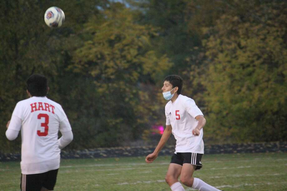 Reed City's boys soccer season ended on Wednesday in a 5-2 district loss to Hart. Photo: John Raffel