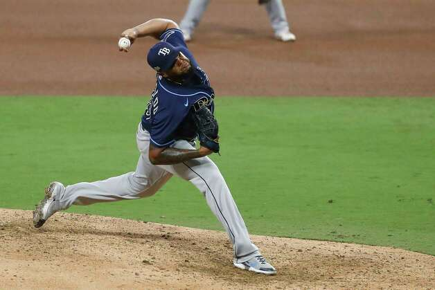 Tampa Bay Rays reliever Jose Alvarado pitches against the Houston Astros during the seventh inning of Game 4 of the American League Championship Series at Petco Park Wednesday, Oct. 14, 2020, in San Diego. Photo: Karen Warren, Staff Photographer / © 2020 Houston Chronicle