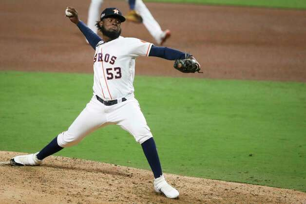 Houston Astros Cristian Javier pitches against the Tampa Bay Rays during the seventh inning of Game 4 of the American League Championship Series at Petco Park Wednesday, Oct. 14, 2020, in San Diego. Photo: Karen Warren, Staff Photographer / © 2020 Houston Chronicle
