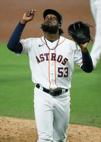 Houston Astros Cristian Javier looks to the sky as he reacts to striking out Tampa Bay Rays Randy Arozarena to end the eighth inning of Game 4 of the American League Championship Series at Petco Park Wednesday, Oct. 14, 2020, in San Diego. Photo: Karen Warren, Staff Photographer / © 2020 Houston Chronicle