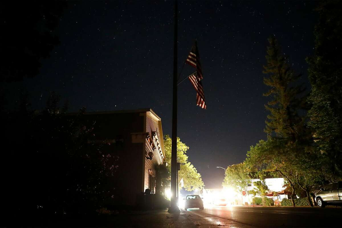 PG&E shut off power on the west end of Lincoln Avenue in downtown Calistoga, Calif., on Wednesday, October 14, 2020.