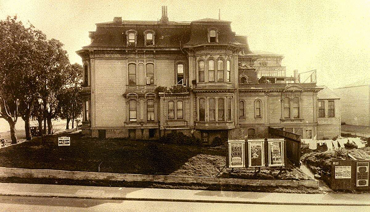 Mary Ellen Pleasant's former mansion, circa 1928. The eucalyptus trees that still stand today can be seen on Octavia Street on the left.