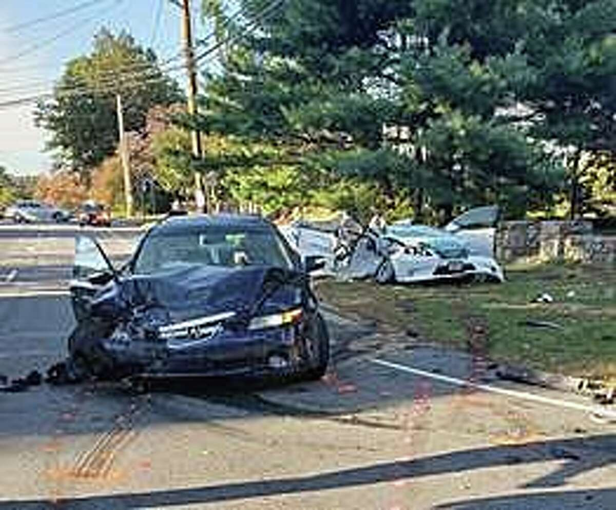 The aftermath of a collision in Bridgeport, Conn., on Wednesday, Oct. 14, 2020, that left one person dead and four others wounded.