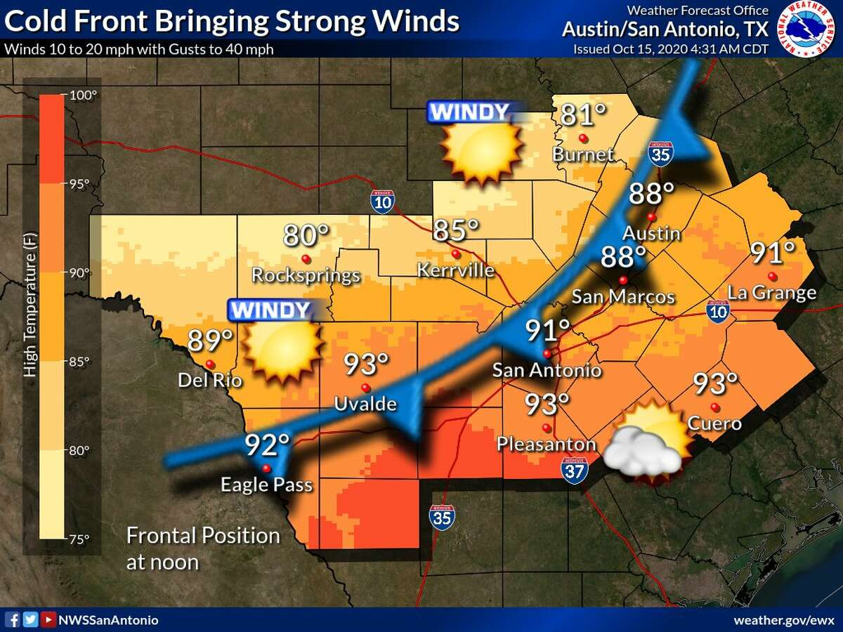 You may have to break out a sweater this weekend - at least at night. A cold front is expected to bring cooler temperature though the area beginning later Thursday and into Friday, according to the National Weather Service. Before the front arrives later Thursday, expect temps to be in lower 90s.