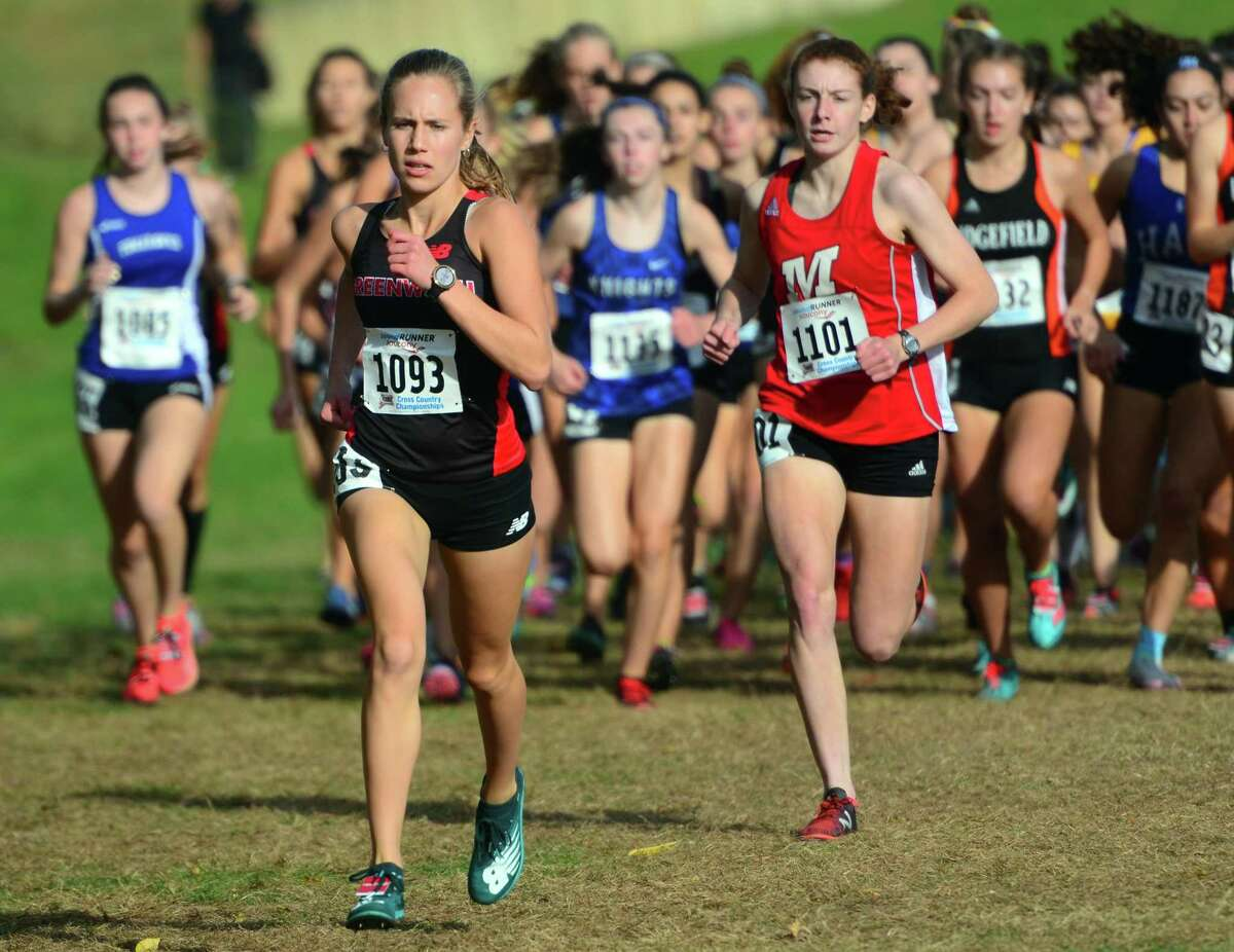 Greenwich's Mari Noble leads the pack during the Class LL cross country championship in 2019.