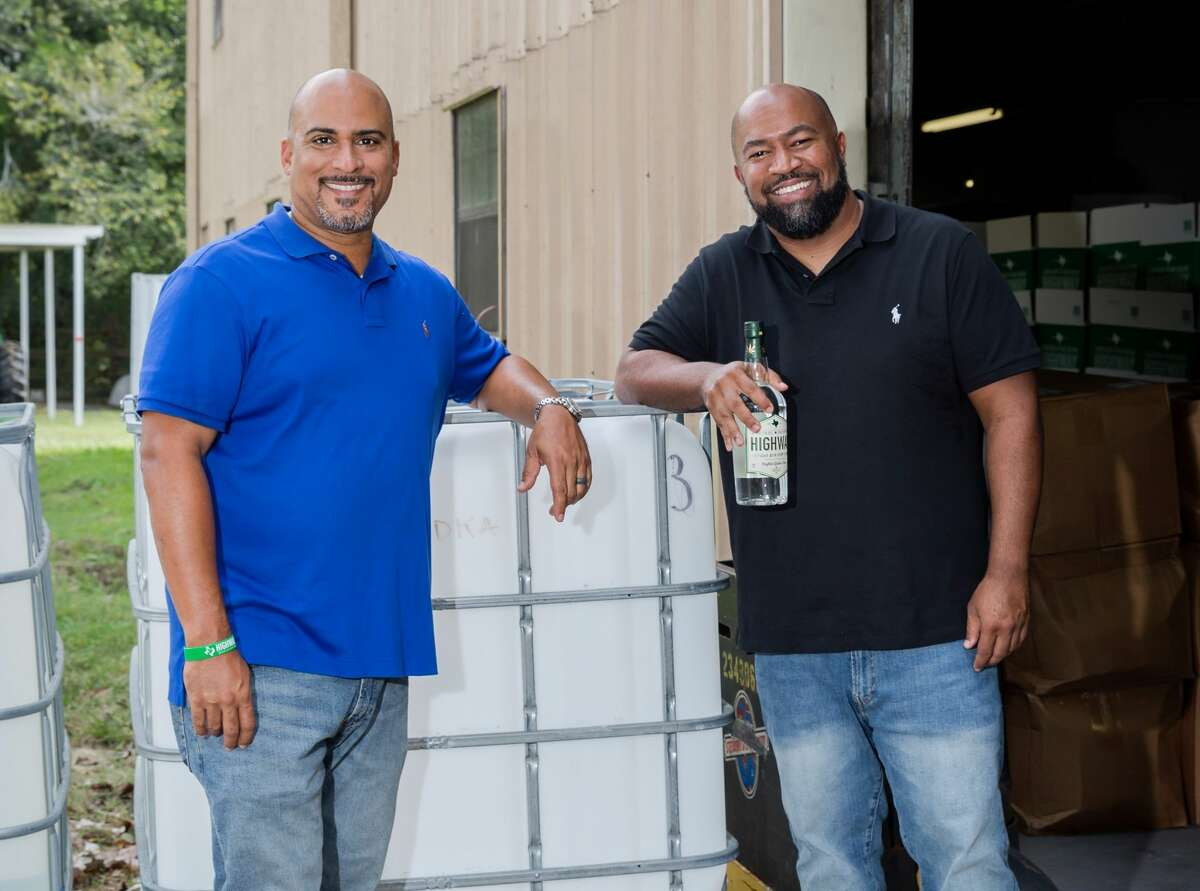 Wendell Robbins III, left, and Ben Williams, right, founded hemp-based distillery, Highway Vodka.