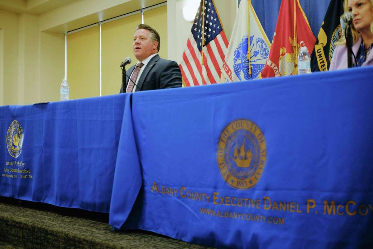 Albany County Executive Dan McCoy speaks at a briefing on the increase in COVID-19 positive cases on Thursday, Oct. 15, 2020, in Albany, N.Y. (Paul Buckowski/Times Union)