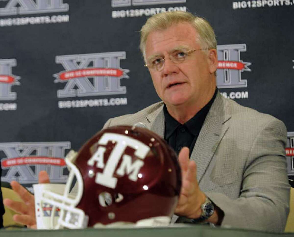 """Texas A&M coach Mike Sherman, speaking during Big 12 media days, says that he would like the Aggies' defensive players to become known for their """"fanatical effort to the football."""""""