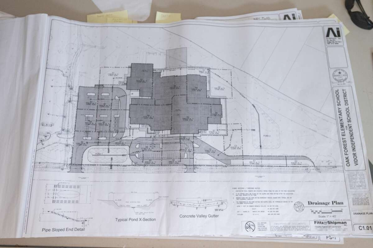 Plans for the new elementary school sit on the engineering table in the work site office. The Viidor ISD has begun working on the rebuilding of Vidor Middle School and Oak Forest Elementary School. Photo made on October 12, 2020. Fran Ruchalski/The Enterprise
