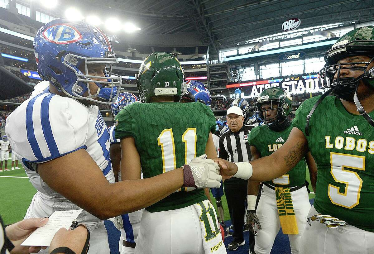 West Brook's captains greet Longview during Saturday's state final Class 6A Div. II championship game at AT&TStadium in Arlington. Photo taken Saturday, December 22, 2018.