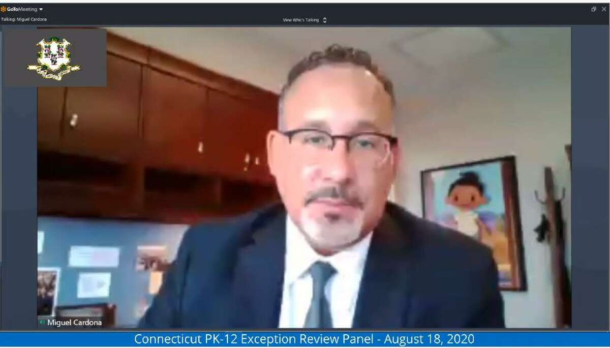 Connecticut Education Commissioner Miguel Cardona in a virtual meeting. He is mentioned this week to be on the short list of President-elect Joe Biden's nomination for U.S. Secretary of Education.