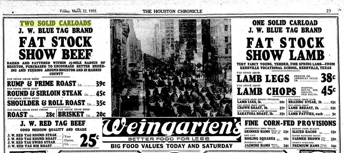 Weingarten's advertisement from March 22, 1935