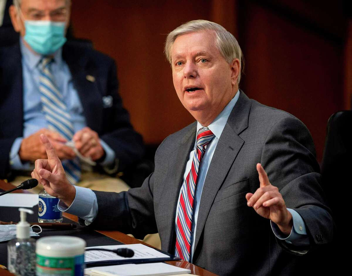 Committee Chairman Us Senator Lindsey Graham speaks during the Senate Judiciary Committee on the fourth day of hearings on Supreme Court nominee Amy Coney Barrett, on October 15, 2020, on Capitol Hill in Washington, DC. (Photo by Bill O'Leary / POOL / AFP) (Photo by BILL O'LEARY/POOL/AFP via Getty Images)