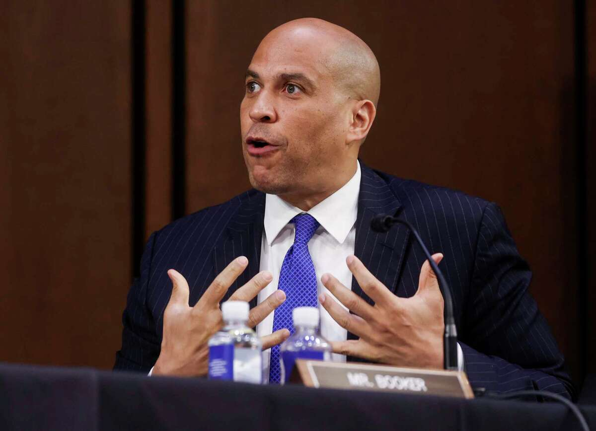 WASHINGTON, DC - OCTOBER 15: Sen. Cory Booker (D-NJ) speaks on the fourth day of confirmation hearings for Supreme Court nominee Judge Amy Coney Barrett on Capitol Hill on October 15, 2020 in Washington, DC. Barrett was nominated by President Donald Trump to fill the vacancy left by Justice Ruth Bader Ginsburg who passed away in September. (Photo by Jonathan Ernst-Pool/Getty Images)
