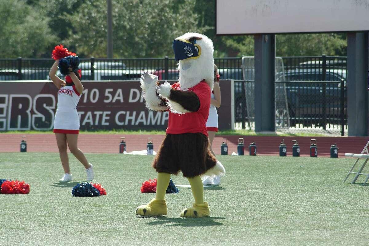 Senior Lazerio Thompson loves being Eddie the Eagle at Dawson High School football games and events.