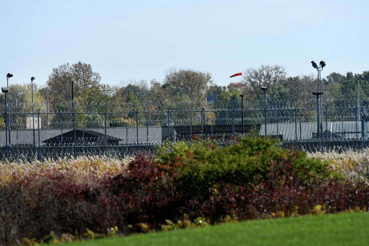 Exterior of the Greene Correctional Facility prison on Thursday Oct. 15, 2020, in Coxsackie, N.Y. Greene County is experiencing an increase in COVID-19 cases that local health officials say stem from an outbreak at the state prison. (Will Waldron/Times Union)