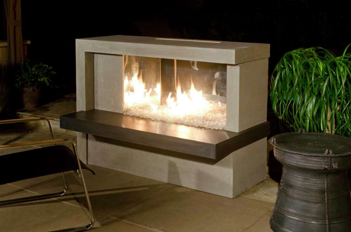 Manhattan Fireplace by American Fyre Designs. Linear two-tone fireplace brings a contemporary feel to the outdoor space .$5,869