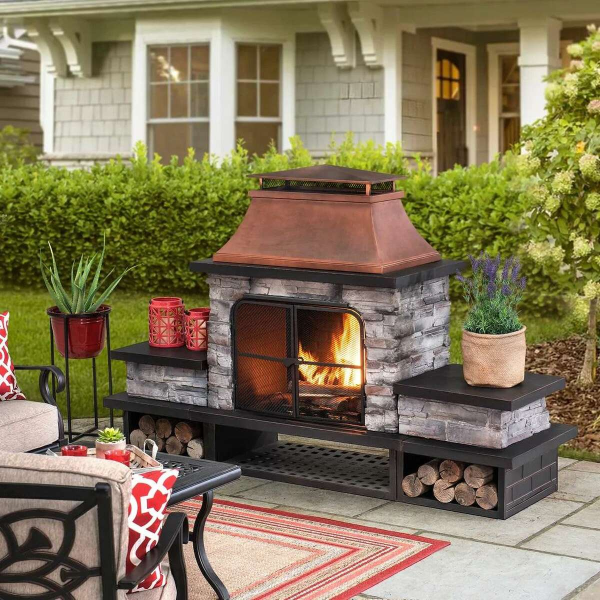 Bel Aire Steel and Faux Stone Outdoor Fireplace by Sunjoy Group. $1,530.