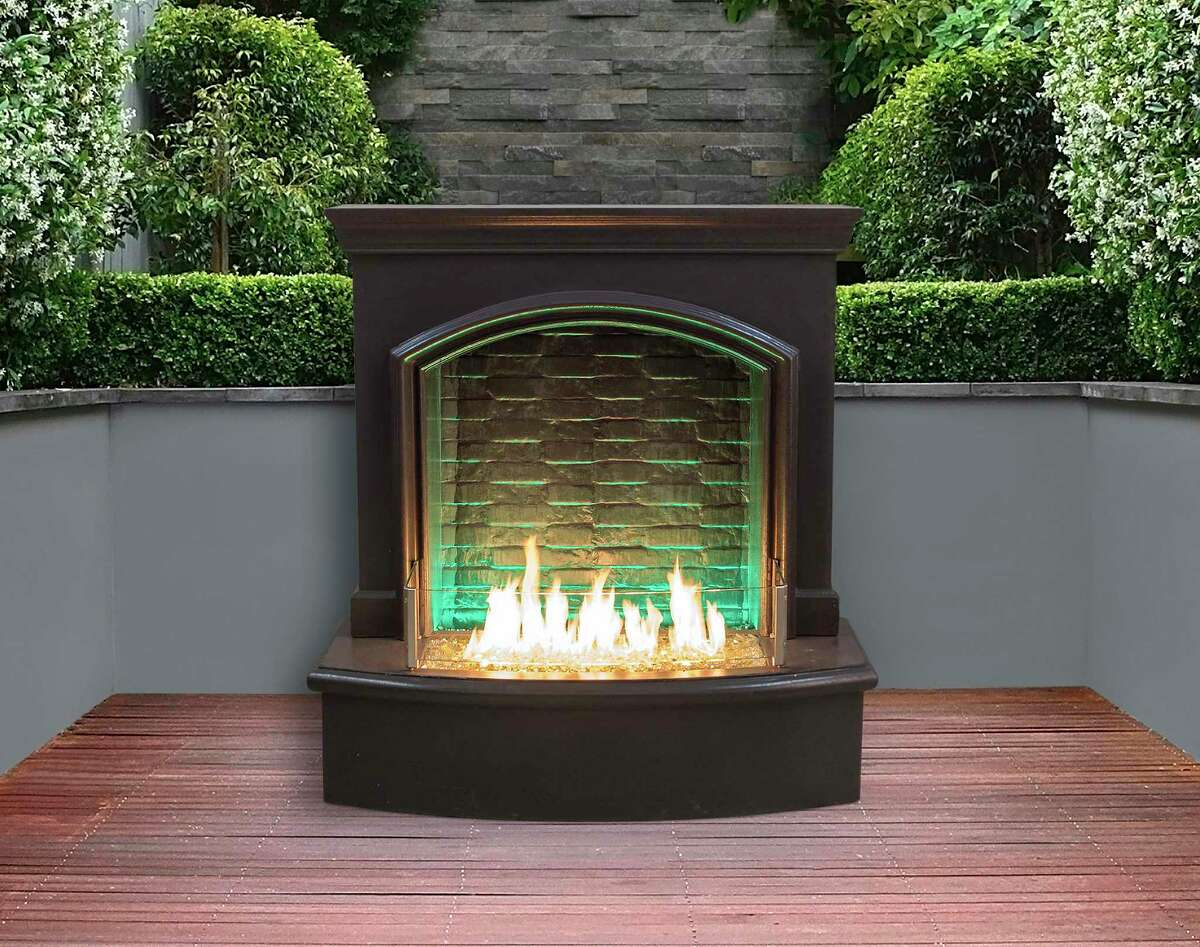 Firefall with Night Fyre by American Fyre Designs features a cascade of water falling down the backdrop against dancing flames in the front, and a strip of LED lights set into the inner arch to spotlight the water.$4,399