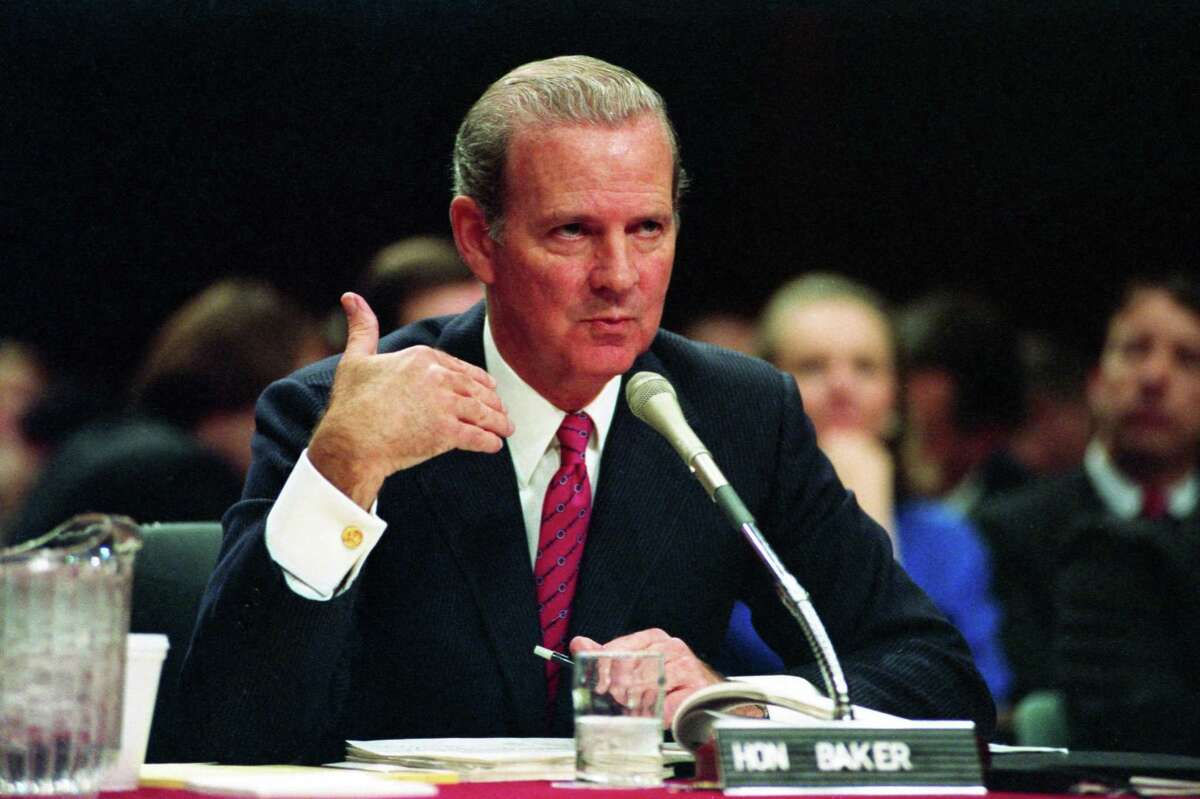01/17/1989 - Secretary of State-designate James A. Baker III answers questions from the Senate Foreign Relations Committee during his first confirmation hearing Tuesday in Washington.
