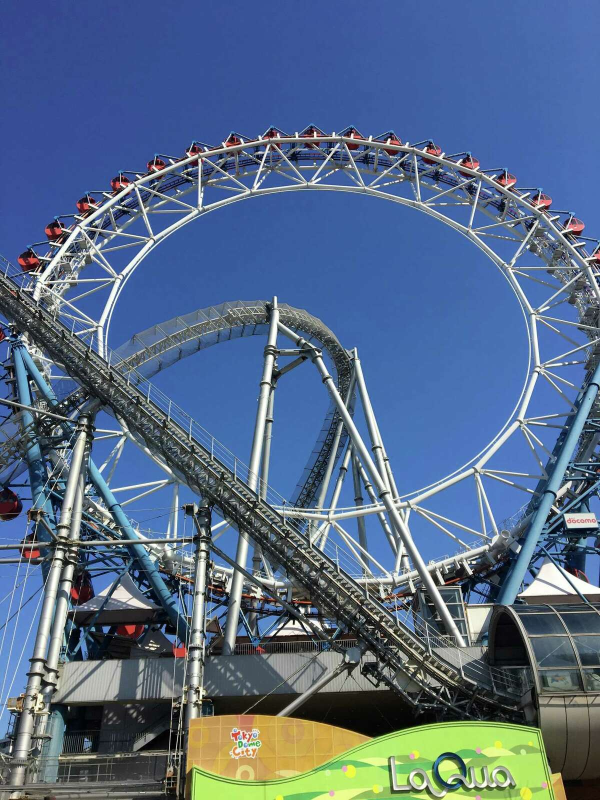 The author and her husband rode Tokyo Dome City's Thunder Dolphin roller coaster during their stop in Japan.
