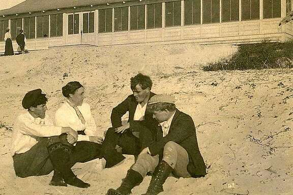 Early Bohemians involved with Forest Theater (l to r - George Sterling, Mary Austin, Jack London, Jimmy Hopper.