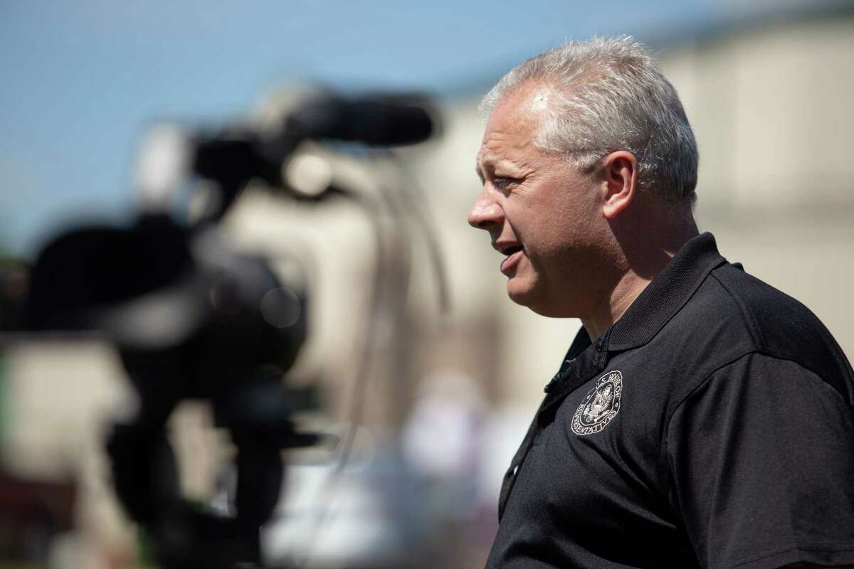 Rep. Denver Riggleman, R-Va., speaks to reporters during the GOP convention at Tree of Life Ministries in Lynchburg, Va., on June 13, 2020.