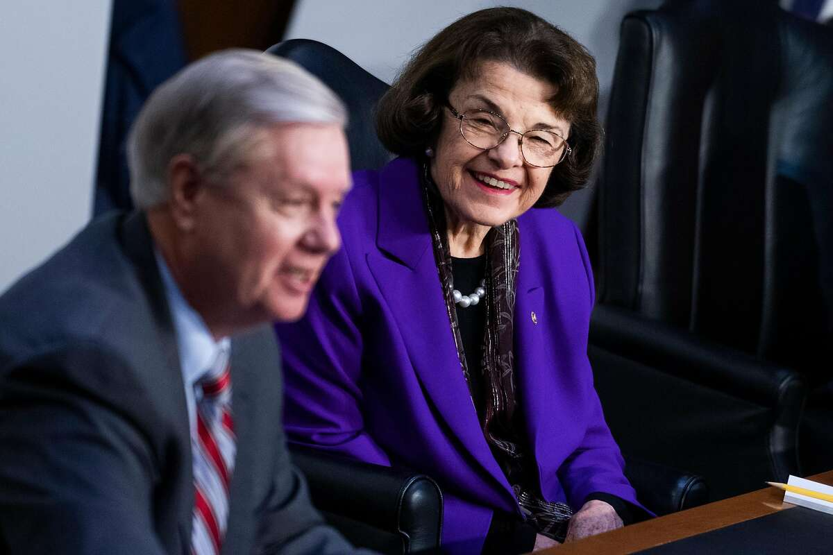 Senate Judiciary Committee Chairman Sen. Lindsey Graham, R-S.C., and ranking member Sen. Dianne Feinstein attend the fourth day of the Supreme Court confirmation hearings for nominee Judge Amy Coney Barrett on Thursday.