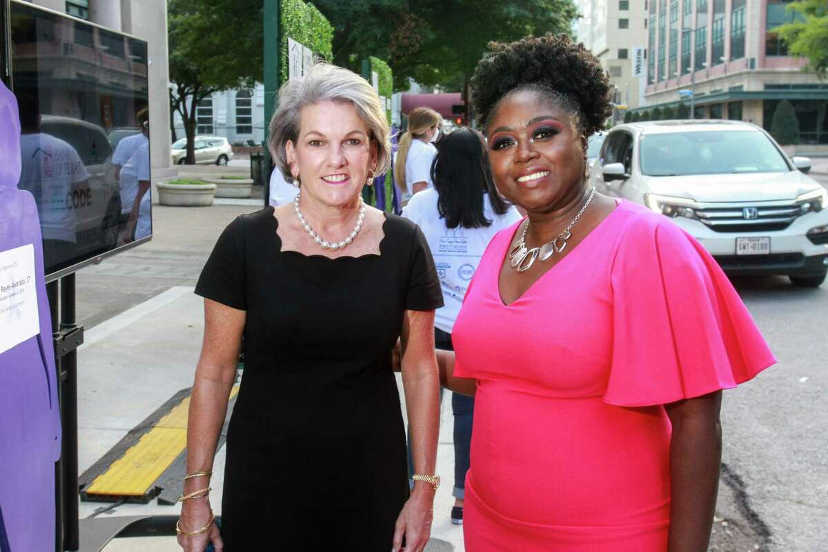 AVDA Board Member Twila Carter, left, and AVDA CEO Maisha Colter, at AVDA's Home Safe Home Gala at Minute Maid Park in Houston on October 14, 2020. Twila is also Senior Vice President, Community Affairs, Houston Astros and Executive Director, Astros Foundation