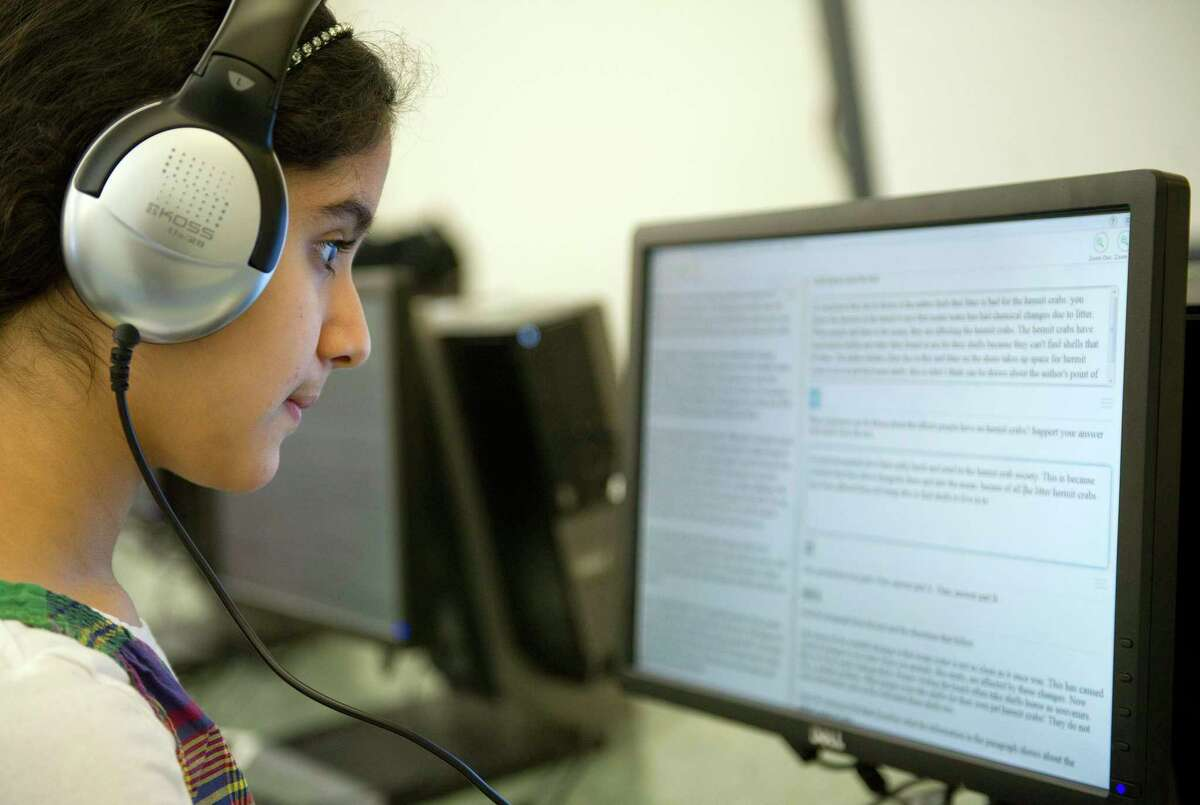 Hart Magnet School students, including Rhea Wadhwa, take a practice SBAC test on Tuesday, March 17, 2015.