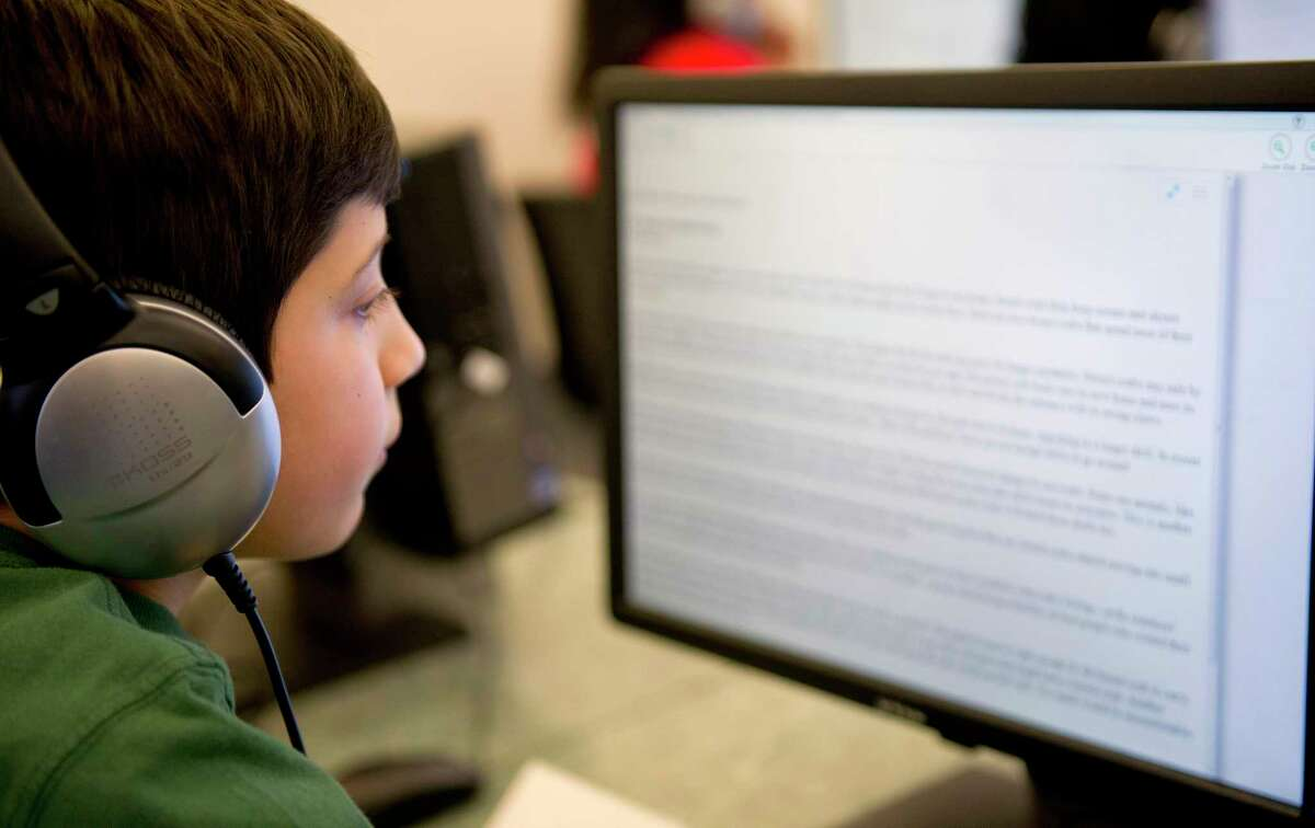 Hart Magnet School student Matthew Castellucci takes a practice SBAC test on Tuesday, March 17, 2015.