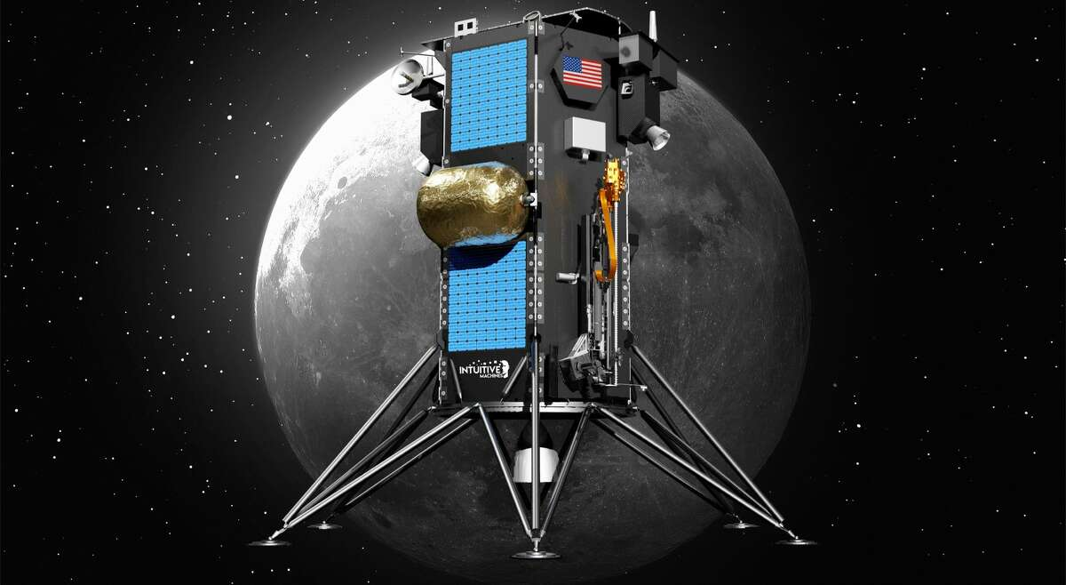 Intuitive Machines' Nova-C Lunar Lander will deliver NASA's Polar Resources Ice Mining Experiment (PRIME-1) to the moon's south pole by December 2022. Pictured is a rendering of the lander.