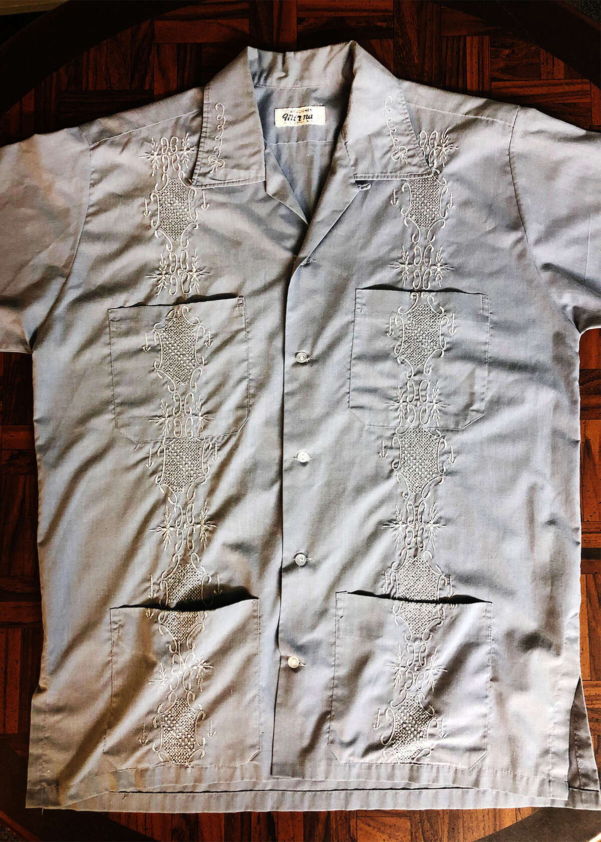 A guayabera the author bought in a market in Nicaragua.