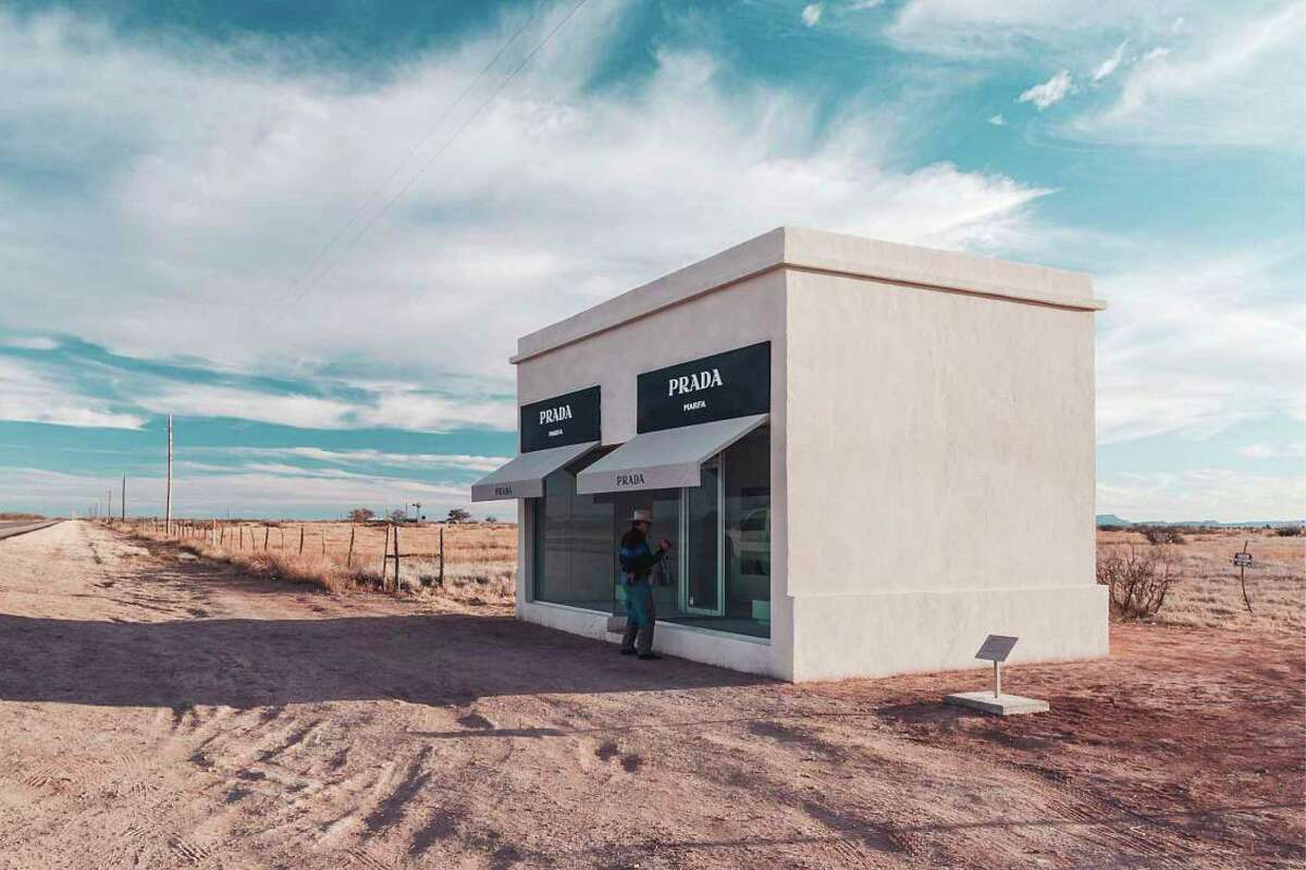 The Prada Marfa sculptural art installation - a Prada storefront - was inaugurated in 2005 in Valentine, just northwest of Marfa. Its artists described the work as a