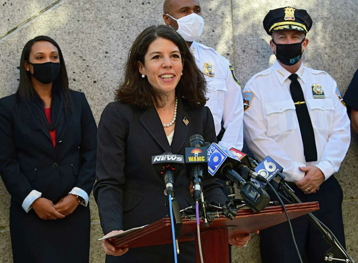 Acting United States Attorney Antoinette T. Bacon talks about collaborative efforts among federal, state and local agencies to address gun violence and other firearms crimes outside the U.S. Courthouse on Thursday, Oct. 15, 2020 in Albany, N.Y. (Lori Van Buren/Times Union)