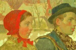 """""""Winter,"""" by artist Gari Melchers, is displayed during an FBI press conference where it was announced that the artwork, which was taken by Nazis in 1933, would be returned to its rightful owners on Thursday Oct. 15, 2020, in Albany, N.Y. The FBI recently seized the painting from an art museum in Canajoharie, part of an international effort to recover artwork taken by the Nazis from heirs of jewish publisher Rudolf Mosse, a philanthropist who died in 1920. (Frame grab from pool video)"""