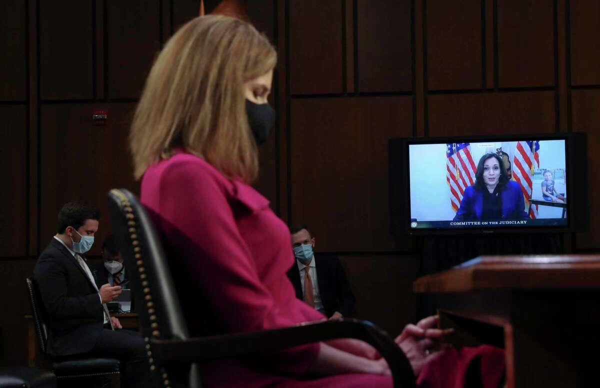 Democratic vice presidential nominee Sen. Kamala Harris speaks by videoconference during Amy Coney Barrett's Supreme Court confirmation hearing. Trying to determine how a lifetime judge will rule is futile.