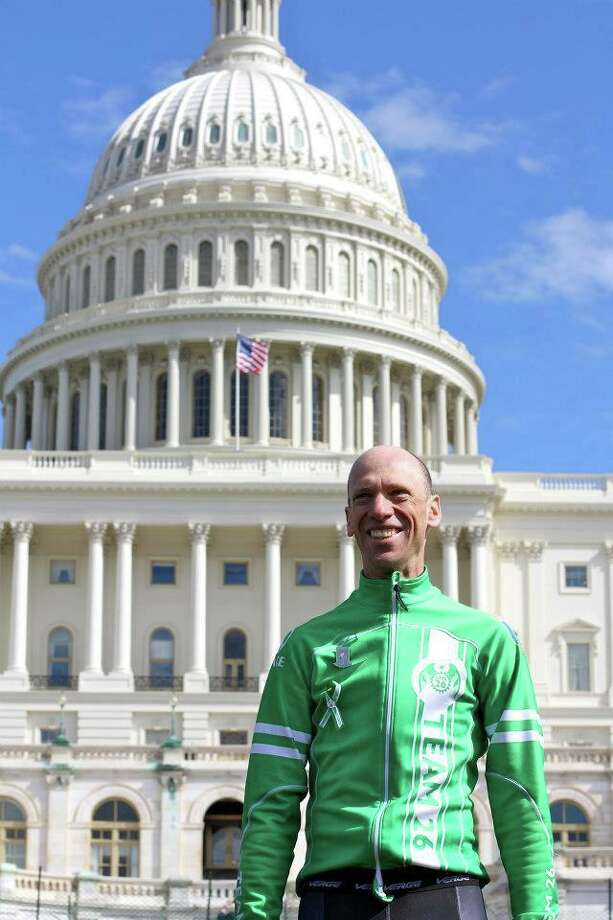 Monte Frank, an Sandy Hook bicyclist, and a Newtown attorney, is the leader of the Team 26 ride to Washington, D.C. The effort to bring awarness for the need of gun control legislation arose from the Sandy Hook Elementary School shooting. Photo: Contributed Photo / / The News-Times Contributed