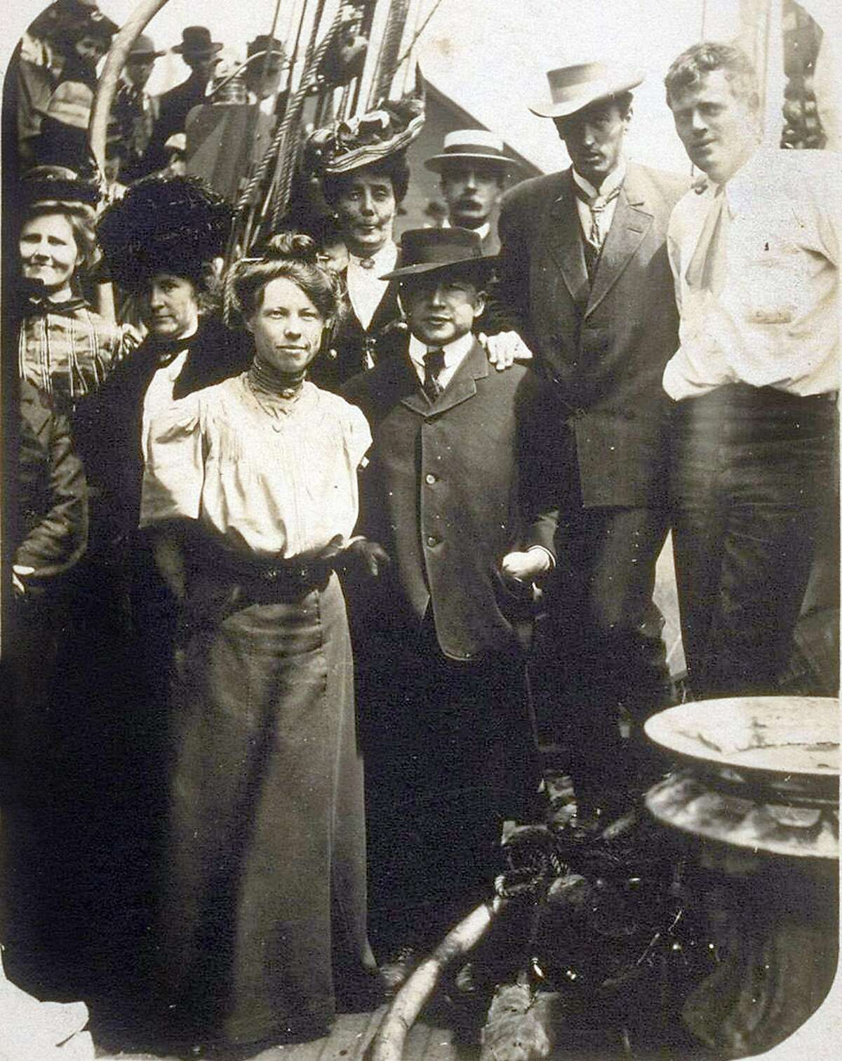 Poet George Sterling (second from right) with writer Jack London (far right) and friends.