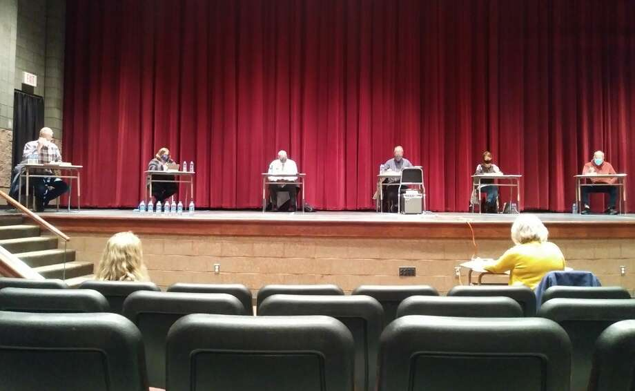 The Manistee Area Public Schools Board of Education held its October meeting in the Manistee Middle High School auditorium Wednesday. Photo: Kyle Kotecki/News Advocate